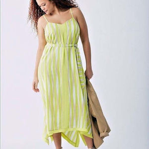 Lane Bryant lemon striped hankie bottom dress